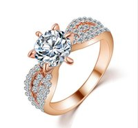 Wholesale Romantic Wedding Crystal Rings Rose Gold Platinum Plated Big Zircon Womens Fashion Jewellery Ring Full Size Anillos