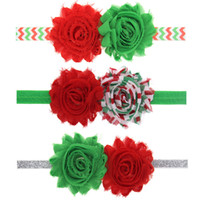 shabby chic flowers - Baby Christmas Headbands Hair Accessories Shabby Chic Flower Headbands for Girls Infant Toddler Elastic Hairbands Childrens Christmas Gift