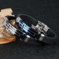 achat en gros de croix bracelets en silicone unisexe-Charmant cadeau Bracelet en silicone véritable 316L en acier inoxydable Croix en cuir noir en croix LOGO Design ID Bracelet Unisexe 7.87 ''