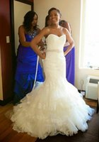 Wholesale Fashionable Lace Mermaid Wedding Dresses Elegant Sweetheart Neck Long Lace up Back Beaded Bridal Gown