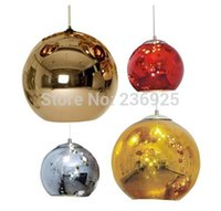 Wholesale Big Copper Gold Red Silver Art Modern Classic Tom Dixon Glass Copper Mirror Shade Ball Dia25 CM Lamp Pendant Room