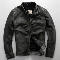 Wholesale Motorcycle genuine leather jacket short coats with the Seal riding totem back of the jacket cowhide leather