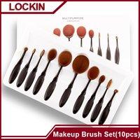 Cheap 10pcs Toothbrush Makeup Brushes Professional Oval Make up Brush Set MULTIPURPOSE Foundation Power Blush Blend Cosmetic Tools Kit w  Box