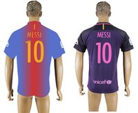Wholesale 16 Messi home BAR football shirts Men s soccer jerseys away purple thai quality Customized any name