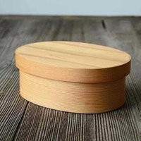 Wholesale MUXING Japanese Style Lunch Box CM Burlywood Solid Wood Oval Lunch Box Capacity ML Retail