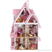 Wholesale Large Size Doll House Assembling DIY Miniature Model Kit Wooden Toy Unique Wood House Gift With Furnitures English instrutions