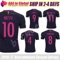 Wholesale SUAREZ Jerseys Camisas Purple Neymar Messi INIESTA PIQUE Soccer Jersey Camiseta de futbol