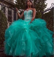 bb pictures - 2017 Sparkly Hunter Green Quinceanera Dresses Ball Gown Sweetheart Crystal Beads Lace up Plus Size Prom Party Gown Organza Sweet Dress BB