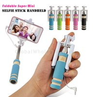 Wholesale Selfie Stick Mini Pocket Self portrait Extendable Handheld Fold Wired with Remote Shutter for iPhone plus s Samsung S6 S5 Note