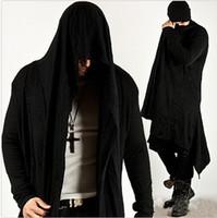 avant garde mens fashion - Mens Fashion Loose Avant garde Dark Punk Hood Charcoal Cape Cardigan Jacket Mens Knit Diabolic Drape Long Black Tops