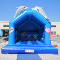 amusement playground equipment - School outdoor playground equipment dolphin blue bouncer inflatable factory price moonwalk jumper bouncer for amusement park