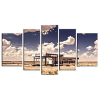 art stations - LK5150 Panel Combination Old Gas Station In Ghost Town Along The Route Modern Wall Art Pictures Prints On Canvas For Modern Home Offic