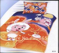 Wholesale Printed duvet quilt covers Cotton orange blue sheep cartoon pattern Single children s bed in a bag sets with sheet bedlinen