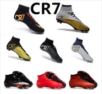 Wholesale New Mercurial Superfly CR7 Lava FG Soccer Shoes Soccer Boots Men s Superfly Shoes Football Shoes mens soccer cleats