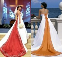 beach diy - 2017 Elegant Strapless Satin Wedding Dresses Embroidery Appliques Lace Up Back Red Beach Wedding Gowns Church Bridal Dresses With DIY Train
