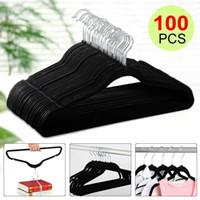 venda por atacado hangers-100P Flocado não deslizamento veludo preto roupas terno / camisa / calças cintas set