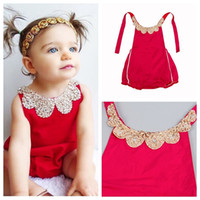 beaded jumpsuits - 0 M Newest Baby girls romper babies red cloth Summer sequins collar with beaded suspender romper infant jumpsuit cotton bodysuit