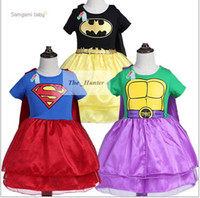 batman character costumes - Kids Teenage Mutant Ninja Turtles TMNT Dress Girl Superman Batman Dress Short Sleeve TUTU Fancy Dress Princess Party Costume Dress A108