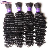 human braiding hair - Top A Deep Wave Brazilian Hair Weave in Bulk No Attachment Cheap Curly Bulk Human Hair Extension Wefts For Braids Bundles Deal