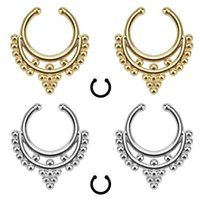 Wholesale Hot Beaded Clip On Fake Septum Clicker Non Piercing Nose Ring Hoop Body Jewelry