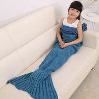 Wholesale 4pcs New Modern Life Mermaid Blanket for Kids Children Blankets Acrylic Throw Blanket for Sofa Beach Kids Home Textile CM