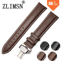 Band for most of watches belt buckel - Genuine Leather Watch Strap Black Brown SS Metal Belt Buckle Mens Watchbands Belt Band Stainless Steel Buckel Clasp mm mm