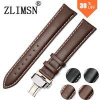 belt buckel - Genuine Leather Watch Strap Black Brown SS Metal Belt Buckle Mens Watchbands Belt Band Stainless Steel Buckel Clasp mm mm