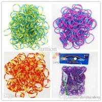 Hot Sale 500pack / Lot Couleur Double Et Bands Brillante caoutchouc Loom Recharge Pour Bracelet Making Kit DIY (300pcs Bands + 12 S-clip)