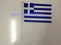 Wholesale polyester material Greece Flags good quality small National flags cm with white pole and golden tip