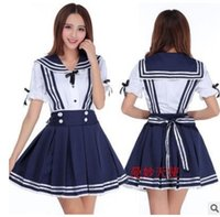 Wholesale 2016 Japanese School Uniform Cosplay Costume Anime Girl Maid Sailor Lolita Dress Striped Blue Japan Girl Cosplay Costume