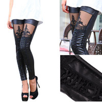 Wholesale 2016 New Fashion Leggings Punk Style Leather Stitching Lace Embroidered Tied leggings Sexy Lace Women Leggings SQ1061