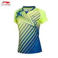 Wholesale Li Ning Summer Women Badminton Racing suit Quick Dry Breathable Female Diagonal Stripes Design Badminton Shirts AAYL042