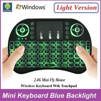 air stocking - Rii I8 Wireless Blue Backlight Mini Keyboard Air Mouse Multi Media Remote With Touchpad Handheld For MXQ Pro T95 M8S Plus S912 TV Box
