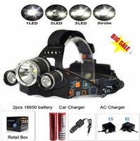 Wholesale Waterproof Rechargeable x XM L T6 LED Headlight Headlamp Flashlight Head Torches for Outdoor Sports Hiking Camping Riding Fishing Hunting
