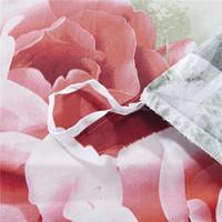 adult popular comforter set - Popular Pink rose d bedding set flower beding D cotton printed bed set bed clothes duvet cover Queen size