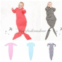 baby clothes blankets - Fedex DHL Free INS hot infant baby Mermaid sleeping bag stripped sleepsack baby romper blanket baby body suits Z528