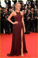 art deco festival - 2016 Blake Lively Dresses The th Cannes Film Festival Split Side Jewel Sleeveless Pleats Chiffon Burgundy Evening Dresses Formal Gowns