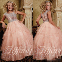 beautiful little girls photos - Beautiful Cheap Glitz Little Girls Pageant Dresses Pink Coral Sequins Organza Prom Party Dress Long Crystal Kids Flower Girl Ball Gowns