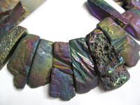 Wholesale Titanium agate titanium quartz rectangle drop flat rainbow gold silver necklace beads mm full strand