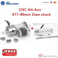 best cnc kit - Discount K11 mm jaw CNC th Aixs Kit A aixs Rotary Axis Hollow Shaft Tailstock for CNC Router Best quality