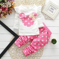 Cheap 2016 Spring Autumn Baby Girls Clothing Sets Kids Girl Minnie Mouse Clothes Suit Children Bow T- Shirt Leggings Pants 2 Pcs Suit CSETG21