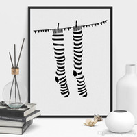 Wholesale Modern Black White Minimalist Abstract Socks A4 Poster Prints Large Hipster Canvas Painting No Frame Home Wall Art Decor Gifts