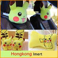 Wholesale New Poke Cute cartoon car pillow cushion Pikachu plush toys headrest backrest car seat belt shoulder sleeve Neck pillow