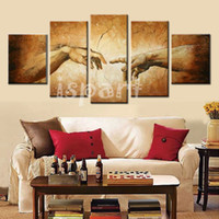 adam arts - Creation of Adam Hand of god Hand painted Religion wall painting famous oil painting copy of Michelangelo Sistine Chapel frescoes art sets
