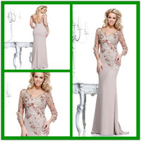 Wholesale Silver Dress Small Train - Sheath V-Neck Backless Illusion 3 4Long Sleeves Embroidery Applique Evening Gowns with Small Train  Fall 2016 Mother Prom Party Dresses
