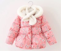 Wholesale Baby girlpink white printed padded jack winter new kids clothes children flower rabbit pattern Long sleeve hooded Outwear coat for T