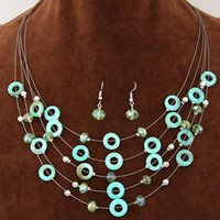 bead pendant light - Sale Retro Summer Sale Bohemia Jewelry Set Shell Crystal Beads Collar Chains Multilayer Chokers Necklaces Pendants Drop Earrings For Women