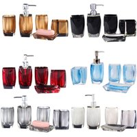 Wholesale Modern Bath Accessories Sets Solid Bathroom Accessory Soap Dish Toothbrush Holder Sanitizer Wash Cup