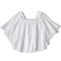 Wholesale 4 Y white blouses girls Fashion Trumpet Sleeves White Desert Folk Tunic blouses thin cotton blusa menina chemisier