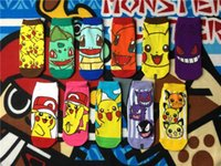 Wholesale Pokemon go Women Socks Cotton Fashion ankle Socks Pikachu Jeni turtle Cartoon Socks C0554